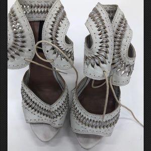 Zara Pumps Size 6 EU 37 Ivory Woven Ankle Straps